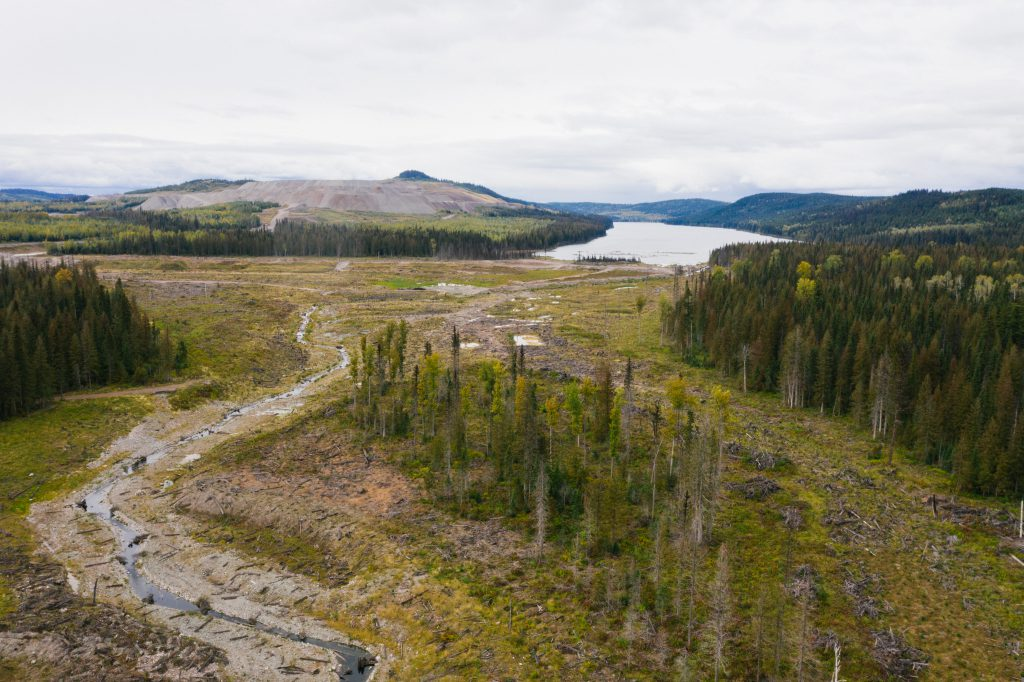 An aerial drone shot of Mount Polley remediation efforts that shows creek shoreline restoration, revegetation, and fish habitat installation.